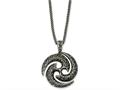 Chisel Stainless Steel Antiqued and Textured Circle 22in Necklace