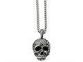 Chisel Stainless Steel Antiqued and Textured Skull 24in Necklace