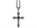 Chisel Stainless Steel Antiqued Cross W/synthetic Black Agate 24in Necklace