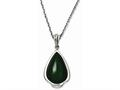 Chisel Stainless Steel Simulated Green Cats Eye Teardrop 20in Necklace