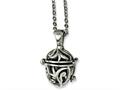 Chisel Stainless Steel Black Agate Fancy Pendant Necklace