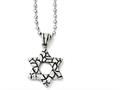 Chisel Stainless Steel Antiqued and Polished Star Of David Necklace