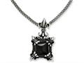 Chisel Stainless Steel Antiqued and Black Agate and Fleur De Lis Necklace