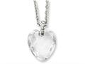 Chisel Stainless Steel Crystal Heart and CZs 18in Necklace