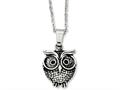 Chisel Stainless Steel Antiqued Owl Necklace