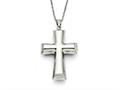Chisel Stainless Steel Polished Cross Necklace