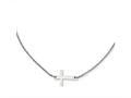 Chisel Stainless Steel Polished Sideways Cross  Necklace