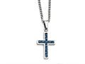 Chisel Stainless Steel Blue Carbon Fiber Inlay Polished Small Cross Necklace