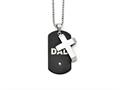 Chisel Stainless Steel Black Ip-plated Dog Tag With CZ Cross Necklace