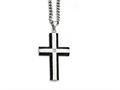 Chisel Stainless Steel Brushed And Polished Black Ip-plated Cross With CZ  Necklace