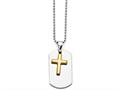 Chisel Stainless Steel Polished Dog Tag Yellow Ip-plated Brushed Cross Necklace
