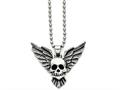 Chisel Stainless Steel Antiqued Skull With Wings Polished Necklace
