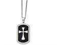 Chisel Stainless Steel Black Ip-plated Polished Dog Tag Cross With CZ Necklace