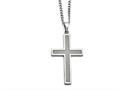 Chisel Stainless Steel Polished Grey Carbon Fiber Large Cross Necklace