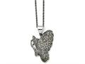 Chisel Stainless Steel Butterfly Marcasite Necklace