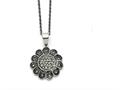 Chisel Stainless Steel Textured Flower Marcasite Necklace