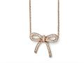 Chisel Stainless Steel Crystal Polished Bow With 1.75in Ext. Necklace