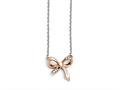 Chisel Stainless Steel Polished CZ Bow With 1.75in Ext. Necklace