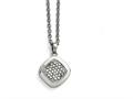 Chisel Stainless Steel Polished CZ Square W/2in Ext. Necklace
