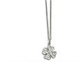 Chisel Stainless Steel Polished Four Leaf Clover With Crystal Necklace