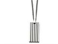 Chisel Stainless Steel Brushed Black Rubber Dog Tag Necklace