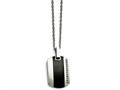 Chisel Stainless Steel Polished Black Ceramic Inlay CZ Small Necklace