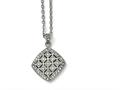 Chisel Stainless Steel Polished Clear And Pink CZ Square Necklace