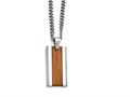 Chisel Stainless Steel Polished Red/orange Wood Inlay Enameled Necklace