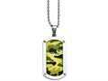 Chisel Stainless Steel Polished Camoflage Dog Tag Necklace