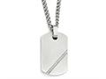 Chisel Stainless Steel Small Brushed CZ Dog Tag Necklace