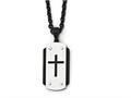 Chisel Stainless Steel Brushed Polished Black Ip-plated Dog Tag Necklace