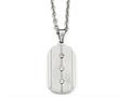 Chisel Stainless Steel Brushed And Polished Dog Tag Necklace