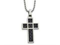 Chisel Stainless Steel Polished Black/blue Carbon Fiber Cross Necklace