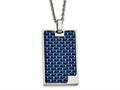 Chisel Stainless Steel Polished With Blue Carbon Fiber Dog Tag Necklace