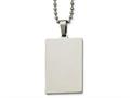 Chisel Stainless Steel Polished Squared 2mm Thick Dog Tag Necklace