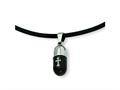 Chisel Pendant Necklace Stainless Steel Etched Black Color IP - 18 inches