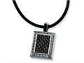 Chisel Stainless Steel Gold and Black color CZ Carbon Fiber Pendant Necklace - 22 inches