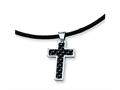 Chisel Stainless Steel Carbon Fiber Cross Pendant - 18 inches