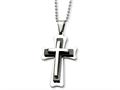 Chisel Stainless Steel Black Acrylic and Polished Cross Necklace