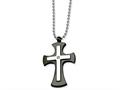 Chisel Stainless Steel Polished and Black Ip-plated Cross Necklace