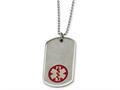 Chisel Stainless Steel Large Dog Tag Medical Pendant 22in Necklace