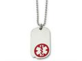 Chisel Stainless Steel Small Dog Tag Medical Pendant 23.5in Necklace