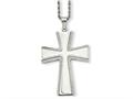 Chisel Stainless Steel Laser Cut and Brushed Cross Pendant Necklace