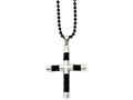 Chisel Stainless Steel Black Leather and Polished Black Ip-plated Cross  Necklace