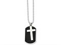 Chisel Stainless Steel Black-plated Dog Tag and Polished Cross Necklace