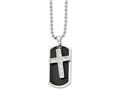 Chisel Stainless Steel Carbon Fiber Cross and  Dog Tag Necklace