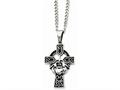 Chisel Stainless Steel Antiqued Claddagh Pendant Necklace