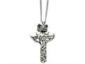 Chisel Stainless Steel Enameled Crown and 2 Piece Cross Necklace
