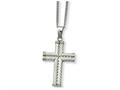 Chisel Stainless Steel Fancy Textured Cross Pendant Necklace