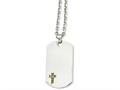Chisel Stainless Steel 14k W/sapphires Cross Dog Tag Necklace